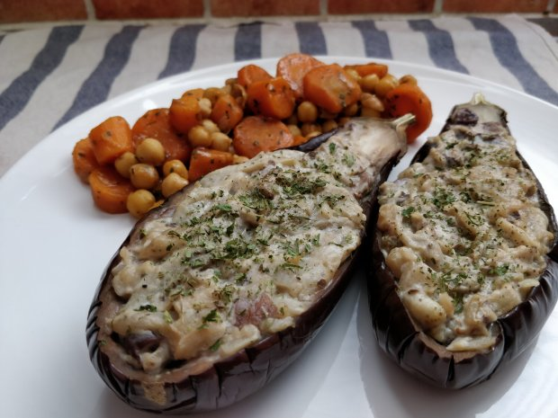 stuffed aubergines with shiitake and chickpea carrot stir fry